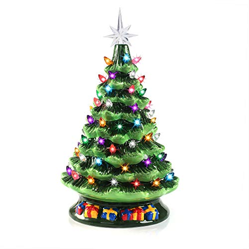 Joiedomi 15' Tabletop Prelit Ceramic Christmas Tree with 70 Multicolor Bulbs, Christmas Decorations