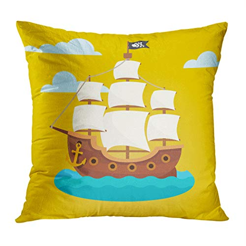 Ortrial Throw Pillow Cover Print Polyester Pirate Ship White Sails Black Scull Decorative Sofa Bedroom Hidden Zipper Pillowcase Patio Outdoor 16 x 16 Inches]()