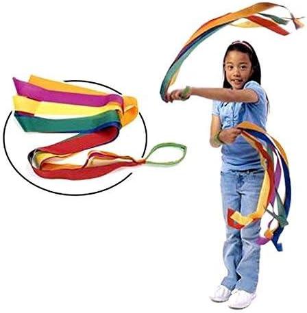 ORZIZRO Rainbow Dance Ribbons 12PCS Rhythm Ribbon Streamers for Kids Children Adults Bright /& Multi-Colored