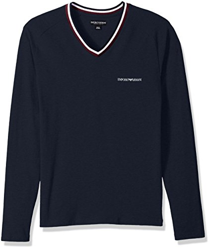 Emporio Armani Men's Rugby Player L/s Vneck T-Shirt, Marine, - Armani Men