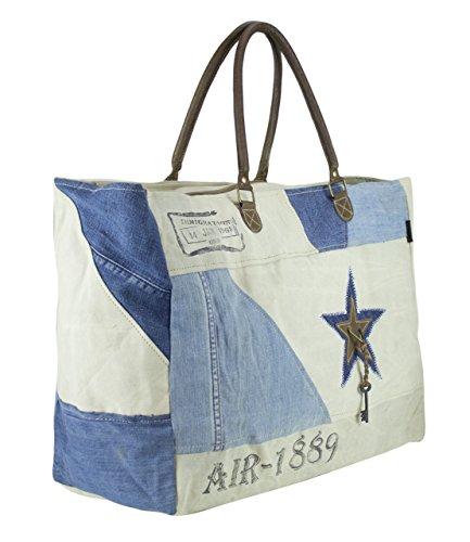 51724 Vintage de Sac plage main Sunsa Femme et cuir Toile Sac toile en à Ladies Shopper Znqp4