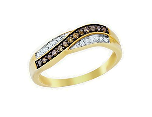 Crossover Diamond Gold - Brandy Diamond Chocolate Brown 10k Yellow Gold Crossover Lovely Band Ring 1/4 Ctw.