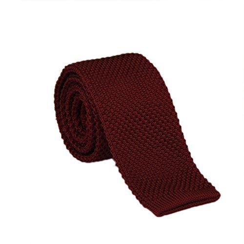 Vintage Polyester Necktie (Freedi Mens Skinny Knit Tie Vintage Smart Casual Polyester Necktie for Groom (Wine red))