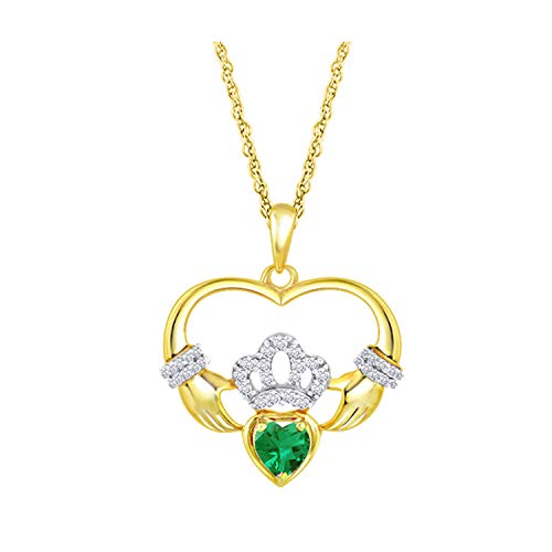 Craft On Jewelry 14k Yellow Gold Plated Simulated Emerald Heart-Shaped Claddagh Pendant Necklace 18 inches for Womens Girls Teens