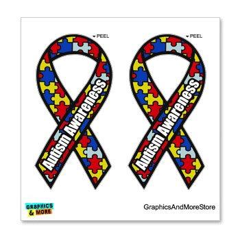 Autism Awareness Puzzle Ribbon - Set of 2 - Window Bumper Locker Sticker