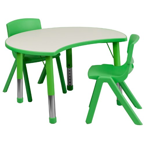 Flash Furniture 25.125''W x 35.5''L Cutout Circle Green Plastic Height Adjustable Activity Table Set with 2 Chairs