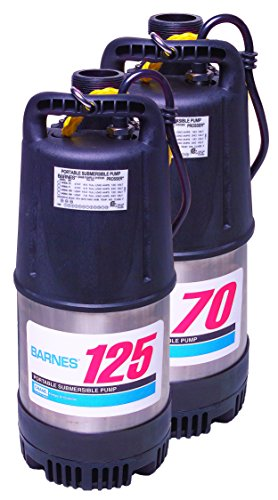 Barnes Model 125 Submersible Dewatering Pump - 1-1/4-HP, 6,300 GPH, 120V/1Ph, 50' Cord, Automatic Automatic Submersible Dewatering Pump