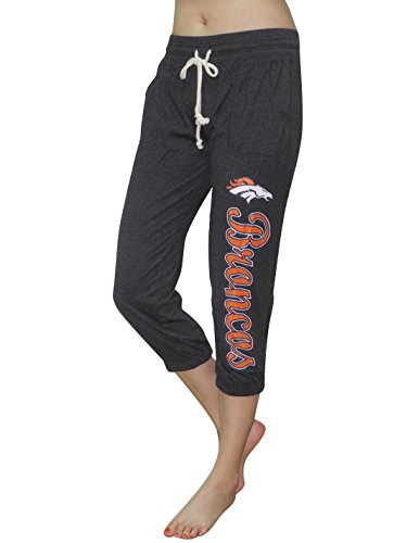 Womens Nfl Lounge Pants (DEN Broncos - Team Logo Womens Casual-wear Lounge / Yoga Crop Pants S Grey)