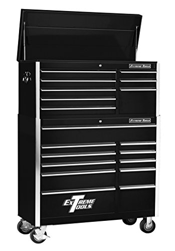Extreme Tools EX4181CRBK 8-Drawer Top Chest and 11-Drawer Roller Cabinet Combo with Ball Bearing Slides, 41-Inch, Black High Gloss Powder Coat