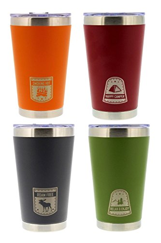 reduce Vacuum Insulated Stainless Steel Pint, 16oz – Orange, Red, Gray, Green – Outdoor Series (4 Pack) - Great for Tailgating, Camping, Boating or on the Beach by reduce