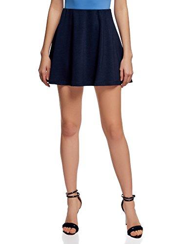 oodji Ultra Femme Jupe Maille  Taille lastique Bleu (7900n)
