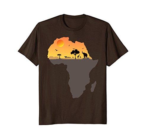 Mens Exotic Safari Animals in Sizzling Africa Orange Sky T-Shirt XL Brown