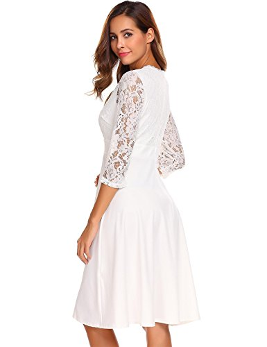 Zeagoo Women A-Line Pleated 3/4 Sleeve Cocktail Party Dress With Floral Lace