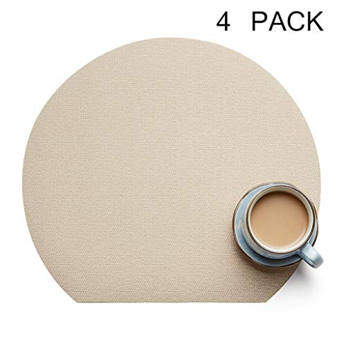 (PVC Placemats Waterproof Non Slip Insulation Place Mats Half Moon Shaped Dining Table Mats Hotel Western Placemats (Set of 4,Cream Color))