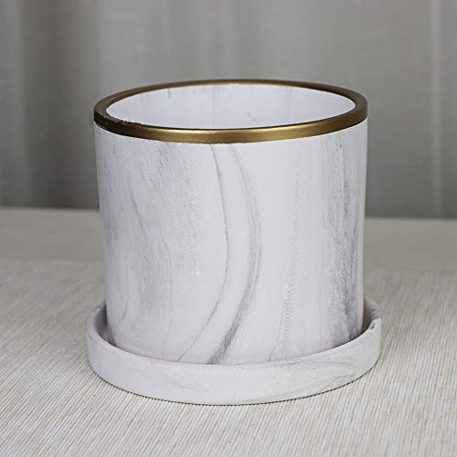 XHZJ Perforated Matte White Marbled Gold-Plated Cylindrical Straight Ceramic Pot, Non-Porous Cylindrical Tabletop Ceramic Pot, Balcony with Hole Green Planter, Balcony Without Hole Green Planter