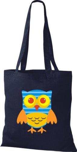 Stoffbeutel Bunte Eule niedliche Tragetasche mit Punkte Karos streifen Owl Retro diverse Farbe blau IevVwP2L