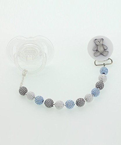 Crystal Dream Elegant Blue White and Grey Beads with Teddy Bear Keepsake Unisex Baby Pacifier clip 8 Inch (CPGTB)