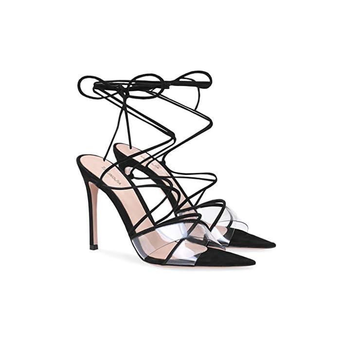 Lff ff Tacchi Alti Sandali Donna - Sexy Neri Scarpe Stringate Stiletto Per Banchetti altezza Tacco 8 Cm 43