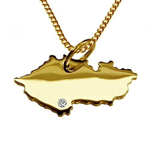 Endroit Exclusif République Tchèque Carte Pendentif avec brillant à votre Désir (Position au choix.)-avec Chaîne-massif Or jaune de 585or, artisanat Allemande-585de bijoux