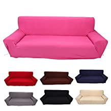 3 Seater Sofa Covers 7 Solid Colors Full Stretch Slipcover Elastic Fabric Soft Couch Cover Sofa Protector Home Furniture ( Color : Burgundy )