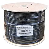 InstallerParts 1000 Ft CAT 6 550MHz Direct Burial Outdoor High Performance ETL Listed Type CMX Data Cable -- Black Jacket