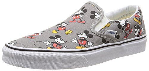 Vans Mens Classic Slip-On (Disney) Mickey Mouse/Frost Gray Skateboarding Shoes (Disney Characters Male)