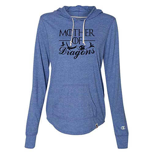 """- Women's Game of Thrones Champion Hoodie """"Mother of Dragons Light Weight Sweatshirt 2X-Large, Blue"""