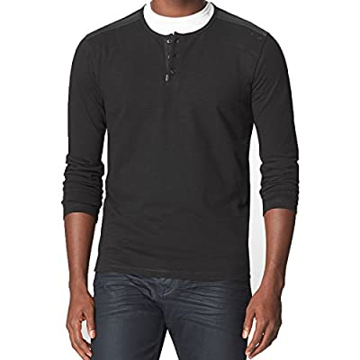 Calvin Klein Jeans Men's Long Sleeve Rib Henley Mixed Media