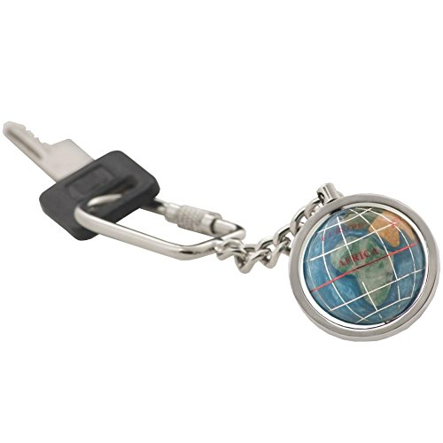 KALIFANO Gemstone Globe with Marine Blue Opalite Ocean showcased on a Bright Silver Keychain