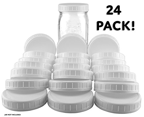 Two Dozen Wide Mouth Plastic Mason Jar Lids (24-Pack Bundle); 2 Dozen Unlined White Ribbed Lids, 86-450 Size