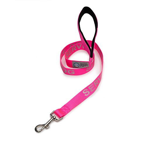 Pink Silkscreen (Service Dog Leash with Neoprene Handle and Reflective Silk-Screen Print in Red or Black, by Industrial Puppy)