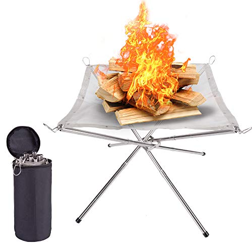 SUCHDECO Portable Fire Pit Outdoor - 2020 New Upgrade, 16.5 Inch Camping Fire Pit Foldable, Mesh Fire Pits Portable Fireplace for Camping, Outdoor, Patio, Backyard and Garden