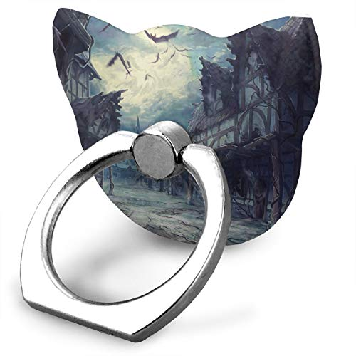 Street Clouds Night Moon House Halloween Horror Dark Bats Cat Smartphone Stand 360° Rotation Ring Stand Grip for iPhone, Samsung and Other Android Smartphones ()
