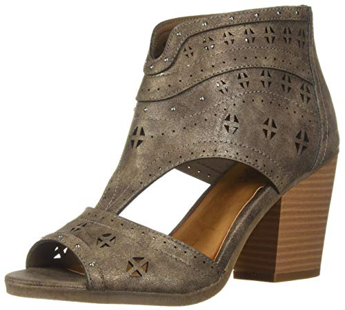 Sugar Women's Viveca Peep Toe Ankle Bootie with Side Cut Out Boot, Stone Tumbled Metallic, 6 M US