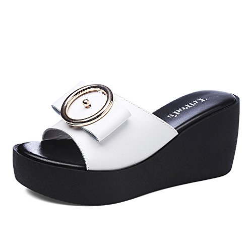 Sandals ZHIRONG Summer Women's Fashion Open Toe Bow Tie Roman Thick Bottom Shoe Wedges 7.5CM (Color : White, Size : EU39/UK6.5/CN40) White