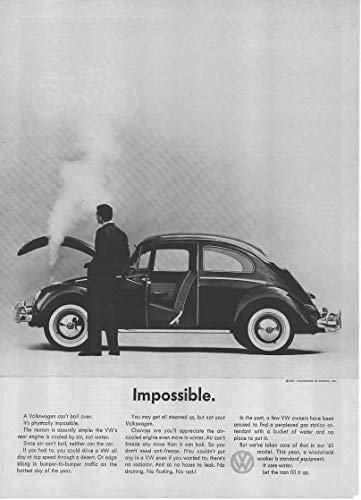 """Magazine Print Ad: 1961 VW Beetle Air-Cooled Engine, Overheated Radiator Scene,""""Impossible"""""""