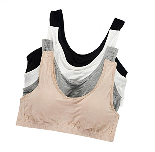 VOCHIC Teen Girls Wireless Plus Size Camisole Training Bra Built In Insert Pads Seamless Bandeau One Size Pack Of 4