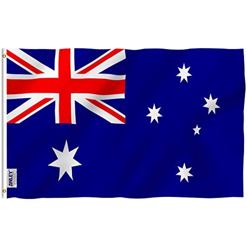 Anley Fly Breeze 3x5 Foot Australia Flag - Vivid Color and UV Fade Resistant - Canvas Header and Double Stitched - Australian National Flags Polyester with Brass Grommets 3 X 5 Ft
