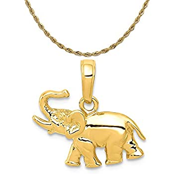 16-20 Mireval Sterling Silver Elephant Charm on a Sterling Silver Chain Necklace