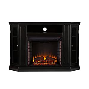 """Southern Enterprises Claremont Convertible Media Electric Fireplace 48"""" Wide, Black Finish"""
