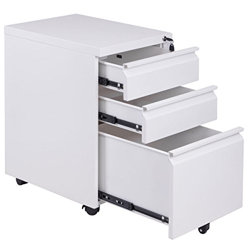 New White File Cabinet Rolling Mobile A4 Drawers Pedestal Storage Steel Home Office by totoshop