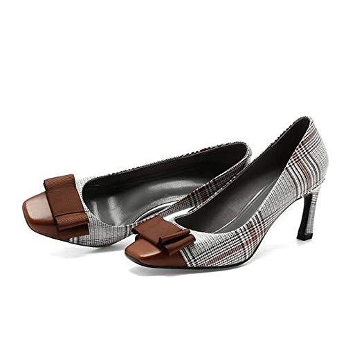 Shoes Brown Heel Brown Leather Comfort Heels Black Spring Stiletto QOIQNLSN Nappa Women'S avHan5