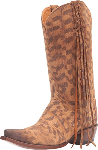 Lucchese Women's Tori Hand Tooled Feather Cowgirl Boot Snip Toe Tan 7.5 M US