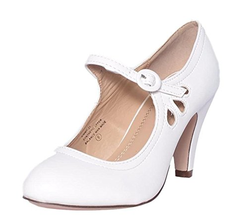 Womens Mid Heel Shoes - Chase & Chloe Kimmy-21 Womens Round Toe Mid Heel Mary Jane Pumps-Shoes, White Pu, 7.5