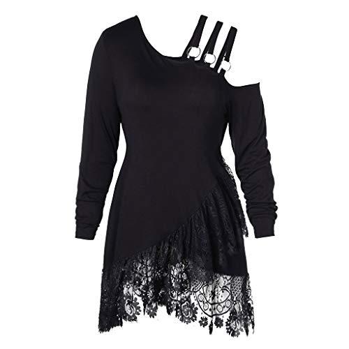 Price comparison product image Flowy Plain Blouse Women Lace Irregular Skew Collar Belt Open Shoulder T-shirt