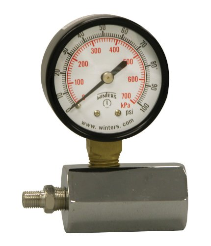 Winters PET Series Steel Dual Scale Gas Test Pressure Gauge with Polycarbonate Lens, 0-100 psi/kpa, 2