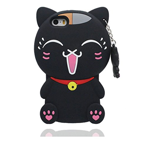 iPhone 5 Coque, Étui iPhone 5G SE 5C 5S Case, chat Flexible TPU Material 3D coque Résistant aux rayures et stylet