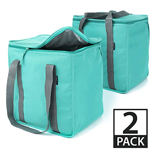 Urban House (2-Pack) Premium Grade Insulated Grocery Shopping Cooler Bag with Heavy Wall Insulation and Zipper Top Lid Keeps Food Cold or Hot, Large (13 W x 9 D x 13 H) 6.5 Gallon capacity