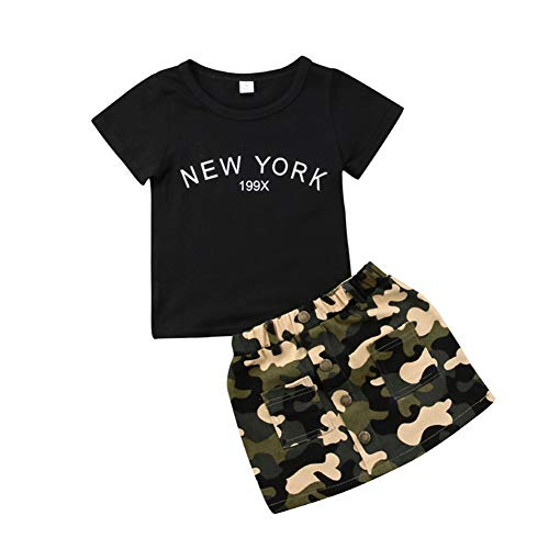 Toddler Baby Girls Camouflage Clothes Outfit Black Tops T-Shirt and Skirt Dress Summer Clothing Set 6-12 Months ()