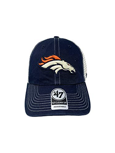'47 Brand Denver Broncos Clean Up Adjustable Snapback Baseball Hat Low Profile Navy Tan Mesh Back NFL Football Cap